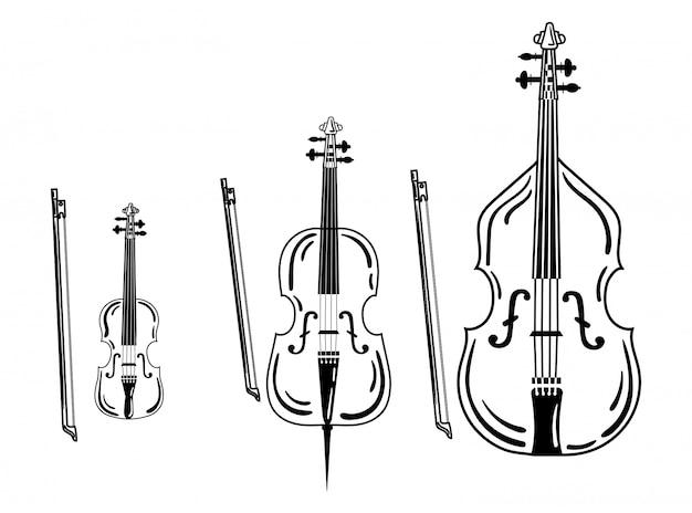 Zestaw skrzypiec. kolekcja instrumentów muzycznych smyczkowych. ilustracja.