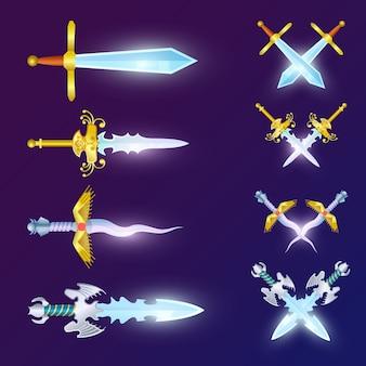 Zestaw skrzyżowanych epickich mieczy