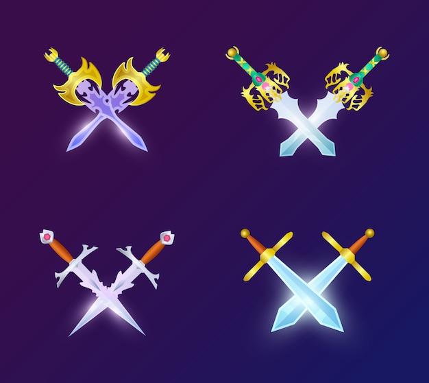 Zestaw skrzyżowanych średniowiecznych mieczy