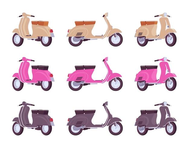 Zestaw skuterów w beżowych, różowych, czarnych kolorach