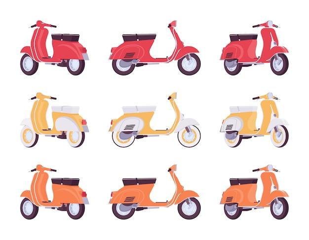Zestaw skuterów w kolorach czerwonym, żółtym, pomarańczowym