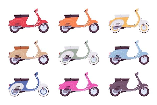 Zestaw skuterów w różnych kolorach