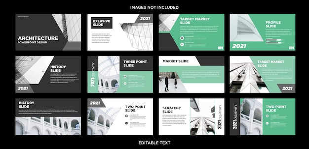 Zestaw slajdów prezentacji nowoczesnej architektury