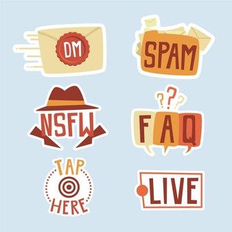 Zestaw slangu mediów społecznościowych