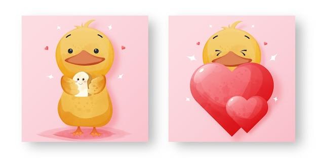 Zestaw śliczna kaczka z zakochaniem