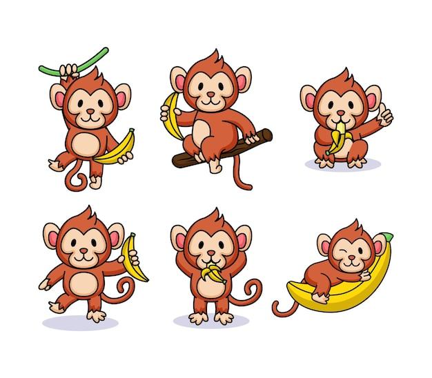 Zestaw śliczna małpa bawi się bananem