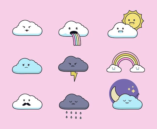 Zestaw ślicznej ilustracji w chmurze kawaii