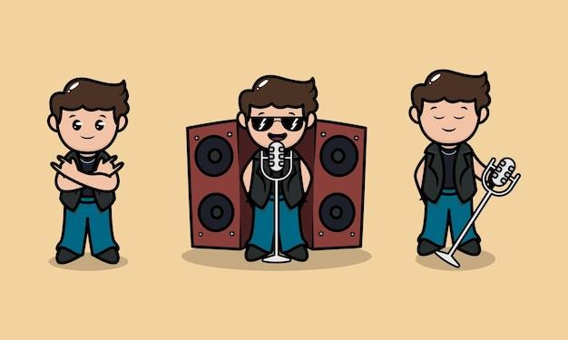 Zestaw ślicznej metalowej maskotki zespołu rockstar ilustracja projektu