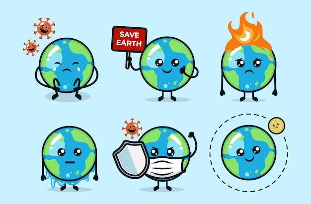 Zestaw ślicznej planety ziemi z różnymi ilustracjami projektu maskotki problemu środowiska