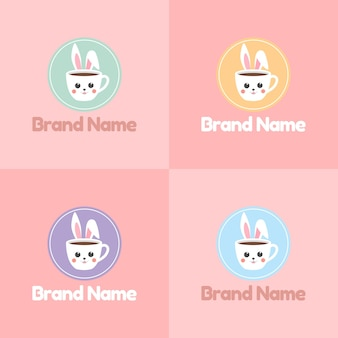 Zestaw ślicznej twarzy królika lub królika jako filiżanki kawy logo z kolorowym emblematem w różowym tle
