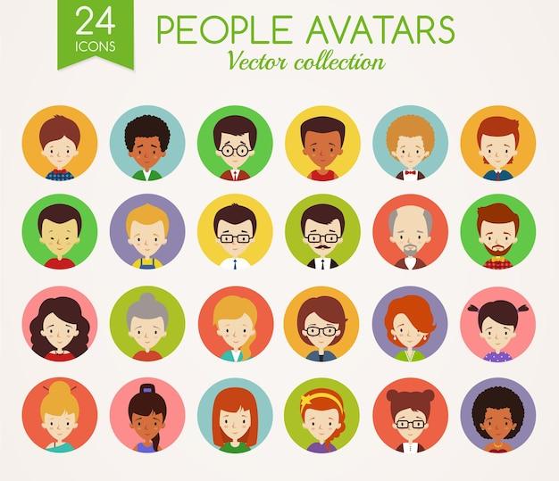 Zestaw ślicznych awatarów. twarze mężczyzn i kobiet. różnorodni ludzie z różnymi narodowościami, w różnym wieku, o różnym ubioru i fryzurach. zbiór ikon wektorowych na białym tle.