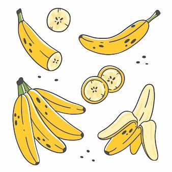 Zestaw ślicznych bananów w stylu doodle kreskówka na białym tle
