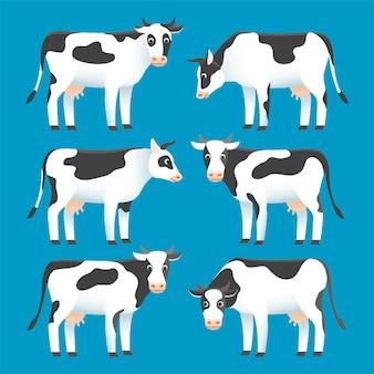 Zestaw ślicznych czarno-białych cętkowanych krów na białym tle na niebieskim tle