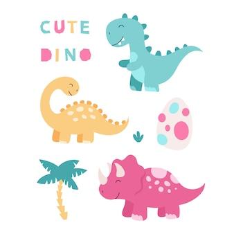 Zestaw ślicznych dinozaurów na białym tle. triceratops, brontozaur, tyranozaur, jajko, liście tropikalne. ilustracja dla dzieci.