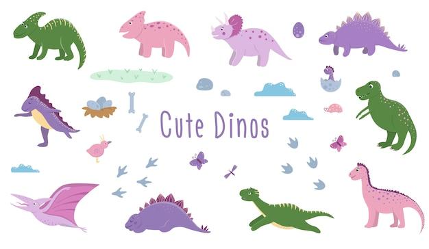 Zestaw ślicznych dinozaurów z chmurami, jajkami, kośćmi, ptakami dla dzieci. płaskie postacie z kreskówek dino. śliczni prehistoryczni gady ilustracyjni.