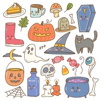 Zestaw ślicznych doodli halloween