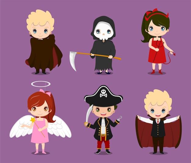 Zestaw ślicznych dzieci noszących kostiumy halloween ilustracji