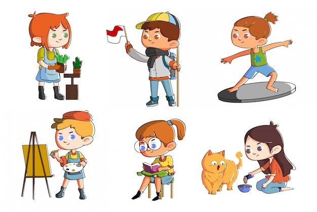 Zestaw ślicznych dzieci zabawy z aktywnością i hobby