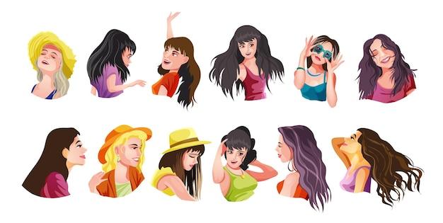 Zestaw ślicznych dziewczyn ręce w różnych ubraniach wykonujących różne czynności