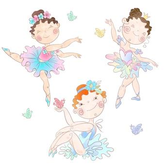 Zestaw ślicznych dziewczynek balerin