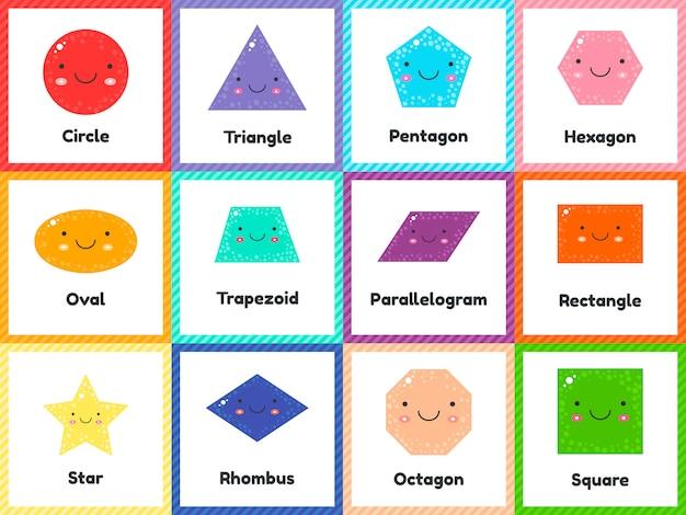 Zestaw ślicznych figur geometrycznych dla dzieci.