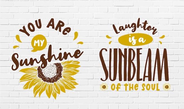 Zestaw ślicznych i niesamowitych cytatów słonecznika i projektu motywacji