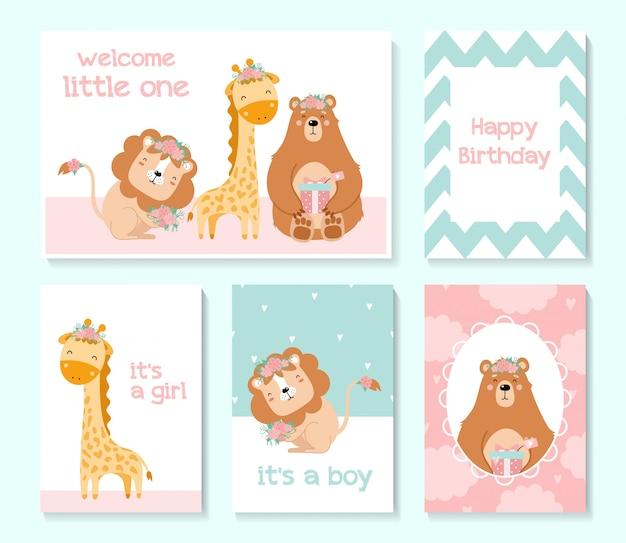 Zestaw ślicznych kart. baby shower. niedźwiedź, lew, żyrafa