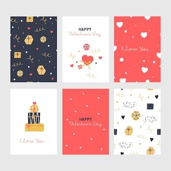 Zestaw ślicznych kart walentynkowych z prezentami.