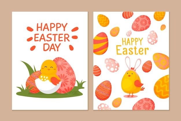 Zestaw ślicznych kartek wielkanocnych. kolekcja pocztówek z kurczakiem wielkanocnym i jajkami.