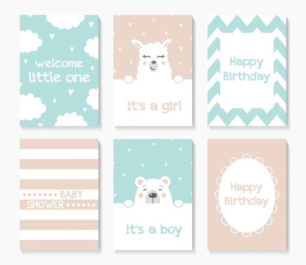 Zestaw ślicznych kartek z napojami dla niemowląt z niedźwiedziem i lamą.