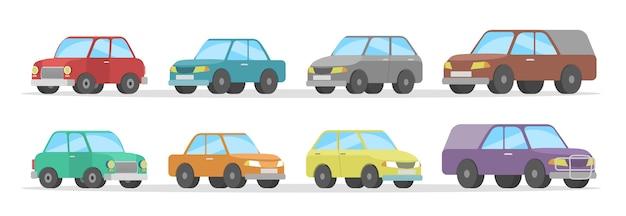 Zestaw ślicznych kolorowych samochodów. kolekcja samochodów. ilustracja na białym tle płaski wektor