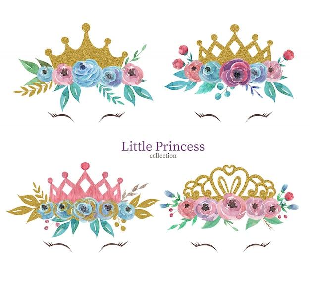 Zestaw ślicznych koron księżniczek z koroną bukiety kwiatów akwarela