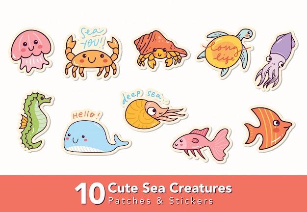 Zestaw ślicznych łat i naklejek stworzeń morskich