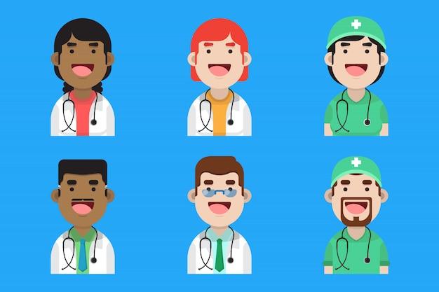 Zestaw ślicznych lekarzy i pielęgniarek awatar kolekcji premium design