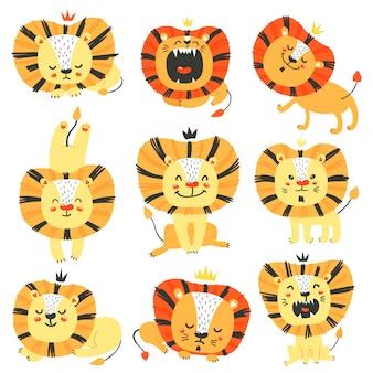 Zestaw ślicznych lwów.