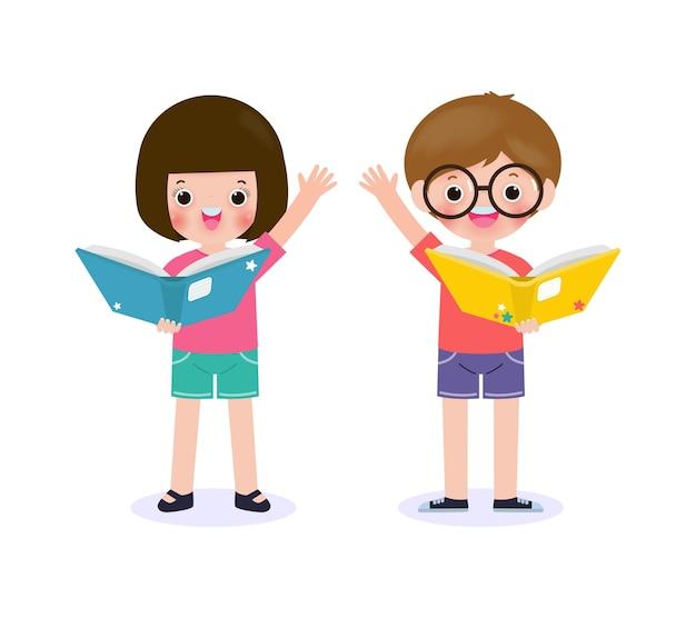 Zestaw ślicznych małych dzieci w szkole chłopiec z dziewczyną stojącą i czytającą książkę, szczęśliwy uczeń czytający książkę dzieci z powrotem do szkoły płaskie wektor ilustracja na białym tle