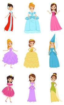 Zestaw ślicznych małych księżniczek, piękne dziewczynki w sukienkach księżniczki ilustracje na białym tle