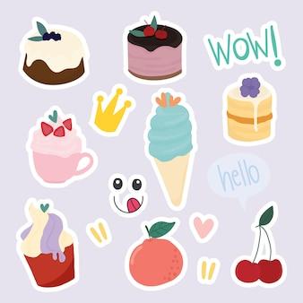 Zestaw ślicznych naklejek deserowych