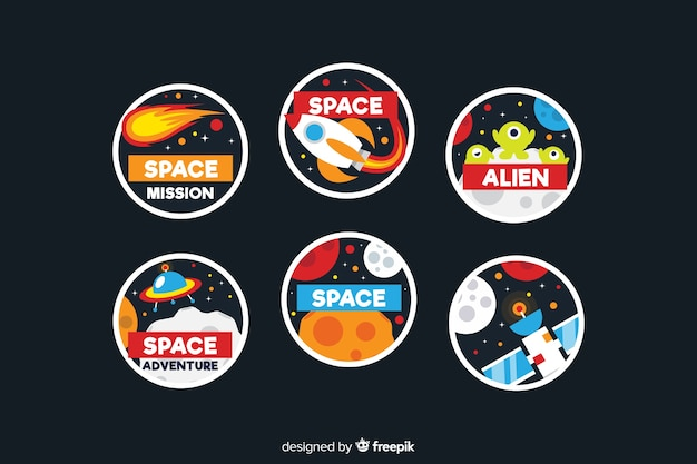 Zestaw ślicznych naklejek kosmicznych