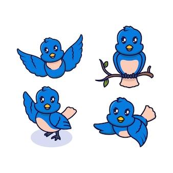 Zestaw ślicznych niebieskich ptaków maskotka ilustracja projekt logo