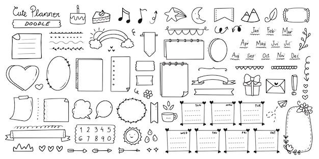 Zestaw ślicznych notatek dziennika punktora doodle zestaw