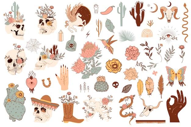 Zestaw ślicznych obiektów meksyku i dzikiego zachodu. czaszki, kaktus, wąż, koń, elementy kwiatowe. edytowalne