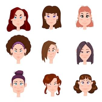 Zestaw ślicznych płaskich kobiet awatarów z różnymi fryzurami