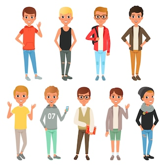 Zestaw ślicznych postaci chłopców ubranych w stylową odzież codzienną