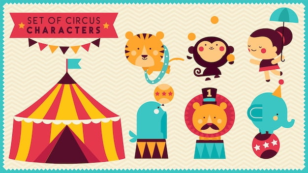 Zestaw ślicznych postaci cyrkowych