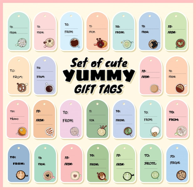 Zestaw ślicznych pysznych tagów prezent z filiżankami herbaty i kawy. ręcznie rysowane etykiety stylu cartoon