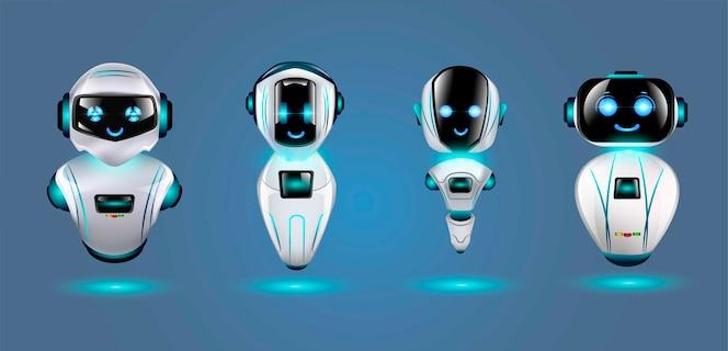 Zestaw ślicznych robotów 3d.