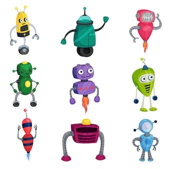 Zestaw ślicznych robotów o różnych kolorach i kształtach. ilustracja na białym tle.