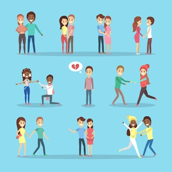 Zestaw ślicznych romantycznych par w miłości. szczęśliwi ludzie się przytulają. samotny mężczyzna ze złamanym sercem.