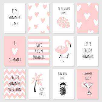 Zestaw ślicznych różowych kartek i plakatów z letnimi elementami